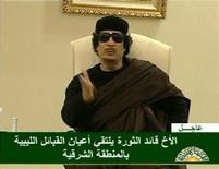 Muammar Gaddafi speaks at a Tripoli hotel in this still image from a video by Libyan TV released May 11, 2011.  REUTERS/Libyan TV via Reuters TV