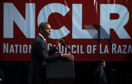 President Barack Obama addresses the annual conference of the National Council of La Raza at the Marriot Wardman Park Hotel in Washington July 25, 2011. REUTERS/Larry Downing