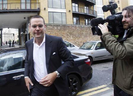 News International Chairman James Murdoch arrives at News International in London July 12, 2011.  REUTERS/Olivia Harris