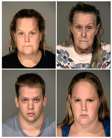 Four adult relatives of 10 year old Ame Deal, who was found suffocated in a storage bin in Arizona July 12, 2011, are shown in this combination of their police booking mugs which were released to Reuters July 28, 2011. Clockwise from left are aunt Cynthia Stoltzman, grandmother Judith Deal, cousin Samantha Allen and her husband John Allen. The relatives were arrested after investigators determined Ame Deal was locked in the container as punishment for taking a Popsicle without permission. REUTERS/Phoenix Police Department/Handout