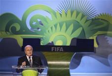 Presidente da Fifa, Joseph Blatter, na abertura do sorteio das eliminatórias da Copa do Mundo de 2014, no Rio de Janeiro. 30/07/2011 REUTERS/Sergio Moraes