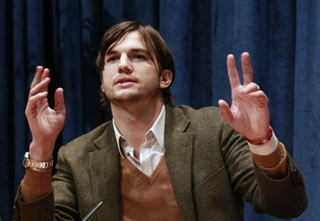 Actor Ashton Kutcher speaks during a news conference at the United Nations Headquarters in New York, November 4, 2010. REUTERS/Brendan McDermid