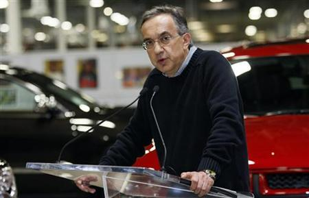 Chrysler Chief Executive Sergio Marchionne addresses the media during a visit to the Chrysler Jefferson North auto plant in Detroit, Michigan April 28, 2011. REUTERS/Rebecca Cook