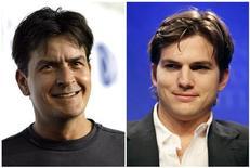 """Foto combinada dos atores Charlie Sheen (esquerda) e Aston Kutcher (direita), de maio de 2011. Kutcher será bilionário da Internet em """"Two and a Half Men"""", série da qual Sheen foi demitido. 12/05/2011 REUTERS/Mario Anzuoni (esquerda) e Chip East (direita)/Arquivo"""