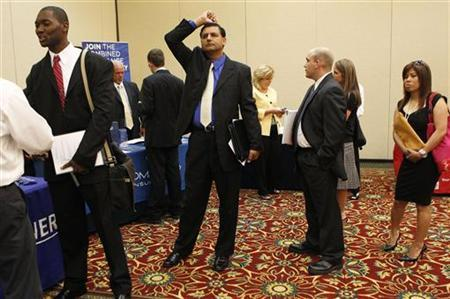 People wait in line to meet a job recruiter at a job fair in Melville, New York, June 29, 2010. REUTERS/Shannon Stapleton