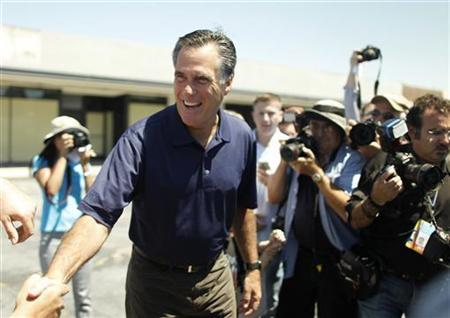 U.S. Republican presidential candidate and former Massachusetts Governor Mitt Romney greets voters during a campaign stop in Los Angeles, California July 20, 2011. REUTERS/Lucy Nicholson
