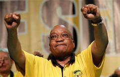 South Africa's President Jacob Zuma dances after delivering his address at the National General Council of his ruling African National Congress (ANC), in the coastal city of Durban, September 20, 2010. Zuma, who is striving to shore up his authority, rejected suggestions that his governing alliance with the COSATU labour federation was in trouble, but failed to embrace calls from his labour allies for nationalisation of some mines and a weaker currency. REUTERS/Mike Hutchings (SOUTH AFRICA - Tags: POLITICS)
