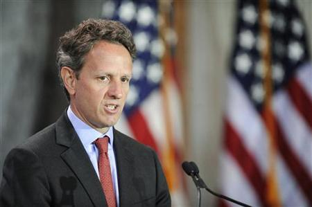 U.S. Treasury Secretary Timothy Geithner makes opening remarks at the Women in Finance Symposium at the Treasury Department in Washington, July 12, 2011. REUTERS/Jonathan Ernst