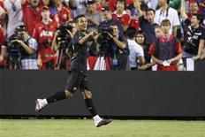 Meia do Barcelona Thiago comemora gol marcado em amistoso de pré-temporada contra o Manchester United nos EUA. 30/07/2011 REUTERS/Hyungwon Kang