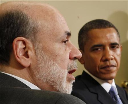 U.S. President Barack Obama meets with Chairman of the Federal Reserve Ben Bernanke in the Oval Office of the White House in Washington, June 29, 2010. REUTERS/Larry Downing