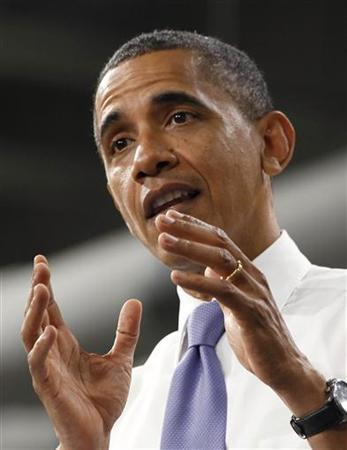 U.S. President Barack Obama speaks after he tours an advanced battery facility, Johnson Controls, Inc. in Holland, Michigan, August 11, 2011. REUTERS/Larry Downing