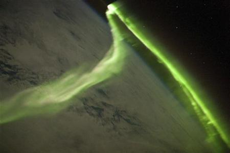 This aurora australis image was taken during a geomagnetic storm that was most likely caused by a coronal mass ejection from the Sun on May 29, 2010 from The International Space Station located over the Southern Indian Ocean at an altitude of 350 kilometers (220 miles) and posted on NASA website June 21, 2010. REUTERS/ISS Crew Earth Observations experiment and Image Science & Analysis Laboratory, Johnson Space Center/Handout