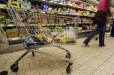 A shopper's food trolley is seen in a discount supermarket in Nice, southern France, October 16, 2008.    REUTERS/Eric Gaillard