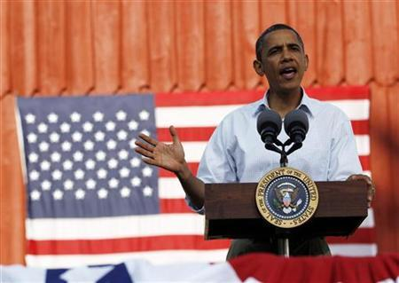 President Barack Obama speaks during a town hall-style event at Seed Savers Exchange in Decorah, Iowa August 15, 2011. REUTERS/Jason Reed