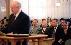 <p>Pardoned coup leaders Oleg Baklanov, Oleg Shenin, Vladislav Achalov, Dmitry Yazov (L to R) listen to the testimony of the former President Mikhail Gorbachev (L) during the trial of former deputy defence minister Valentin Varennikov on July 7. Varennikov insisted on being tried, inspite of the Parliament's amnesty pardoning the leaders of the 1991 coup. REUTERS/Grigory Dukor</p>