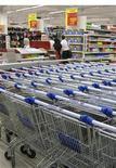 Покупательские тележки возле входа в супермаркет Carrefour в Краснодаре, 10 сентября 2009 года. Индекс потребительских цен в РФ снизился за неделю с 9 по 15 августа на 0,1 процента по сравнению с нулевым приростом за предыдущие семь дней, сообщил Росстат в среду. REUTERS/Maria Kiselyova