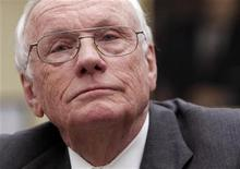 <p>Former astronaut Neil Armstrong, commander of Apollo 11, testifies before the House Science and Technology committee hearing on Review of the Proposed National Aeronautics and Space Administration (NASA) Human Space Flight Plan, on Capitol Hill in Washington May 26, 2010. REUTERS/Yuri Gripas</p>