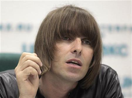 Former Oasis front man Liam Gallagher answers a question during a news conference in Moscow June 3, 2011. REUTERS/Alexander Natruskin