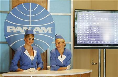 A booth set up to resemble a Pan American World Airlines (Pan Am) ticket counter promotes the new television series ''Pan Am'' at the ABC Summer TCA Press Tour in Beverly Hills, August 7, 2011. REUTERS/Fred Prouser