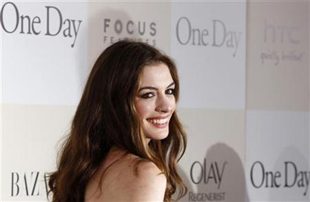 Cast member Anne Hathaway arrives for the premiere of the film ''One Day'' in New York August 8, 2011. REUTERS/Lucas Jackson