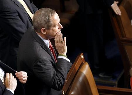 Congressman Joe Wilson (R-SC), who yelled out ''You Lie!'' during President Obama's speech on healthcare in September of 2009, calls out to a colleague before Obama's arrival to deliver his State of the Union Address on Capitol Hill, January 27, 2010. REUTERS/Kevin Lamarque