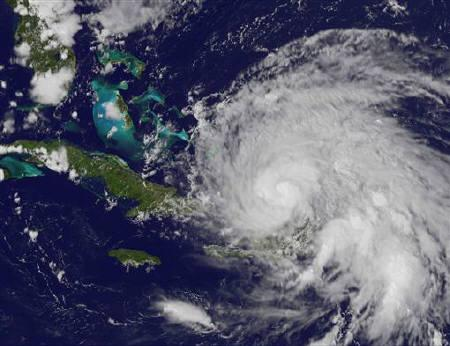 NASA handout image taken by the GOES-13 satellite shows Hurricane Irene approaching the Bahamas on August 23, 2011 at 1932 UTC (3:32 p.m. EDT). REUTERS/NASA/NOAA GOES Project/Handout