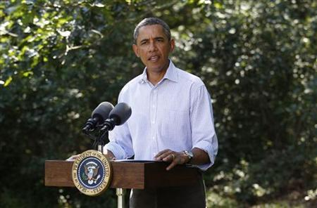 President Barack Obama delivers a statement on Hurricane Irene from his vacation on Martha's Vineyard in Massachusetts August 26, 2011. REUTERS/Kevin Lamarque