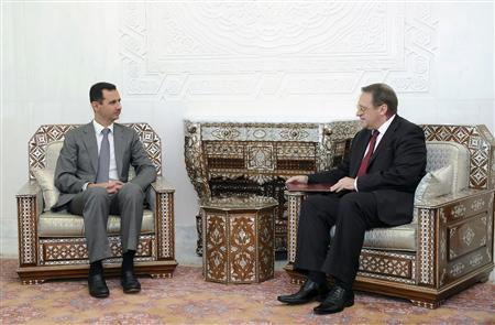 Syria's President Bashar al-Assad (L) meets Russian Deputy Foreign Minister Mikhail Bogdanov in Damascus August 29, 2011, in this handout photograph released by Syria's national news agency SANA. REUTERS/Sana/Handout