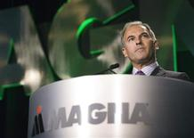 <p>Magna International Inc. CFO Vincent Galifi speaks at their Annual Meeting of Shareholders in Markham May 4, 2011. REUTERS/Adrien Veczan</p>