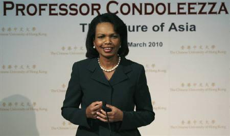 Former U.S. Secretary of State Condoleezza Rice speaks during a lecture at the Chinese University of Hong Kong March 19, 2010.  Rice said on Wednesday she resented what she viewed as an attack on her integrity by former Vice President Dick Cheney in his just-published memoir. REUTERS/Bobby Yip/Files