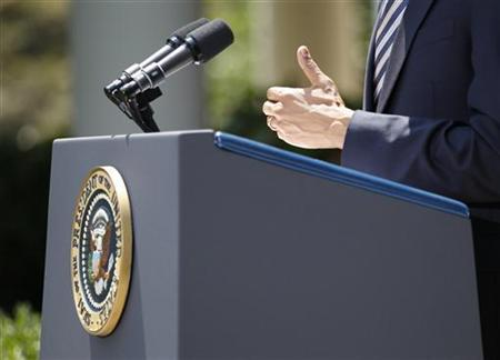President Barack Obama gestures as he speaks to the media in the Rose Garden of the White House in Washington after the Senate passed a bill raising the debt ceiling and cutting spending, August 2, 2011. REUTERS/Jason Reed