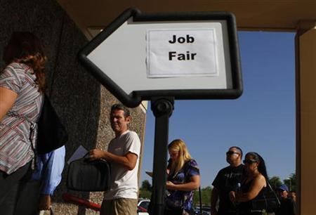 People wait in line to enter a job fair at the Phoenix Workforce Connection in Phoenix, Arizona, August 30, 2011. REUTERS/Joshua Lott