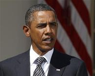 Президент США Барак Обама выступает перед Белым домом в Вашингтоне, 31 августа 2011 года.  Президент Барак Обама значительно понизил прогноз роста экономики США в четверг из-за тех трудностей, с которыми столкнулось правительство в вопросах стимулирования восстановления финансовой системы и создания новых рабочих мест. REUTERS/Larry Downing