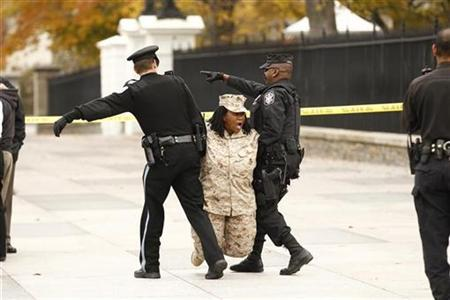 Veteran Evelyn Thomas is arrested after handcuffing herself to a fence at the White House in protest against the Don't Ask, Don't Tell law, November 15, 2010. REUTERS/Kevin Lamarque