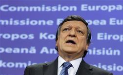 Президент Еврокомиссии Жозе Мануэл Баррозу на пресс-конференции в Брюсселе, 20 июля 2011 года.    Президент Еврокомиссии Жозе Мануэл Баррозу все еще ожидает умеренного роста в Европе и не предвидит рецессии. REUTERS/Thierry Roge