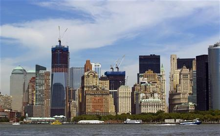 One World Trade Center rises above other buildings surrounding it in Lower Manhattan in New York August 31, 2011. REUTERS/Lucas Jackson