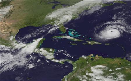 NOAA handout image shows a view of Hurricane Katia captured by the GOES East satellite on September 6, 2011. REUTERS/NOAA Environmental Visualization Laboratory/Handout