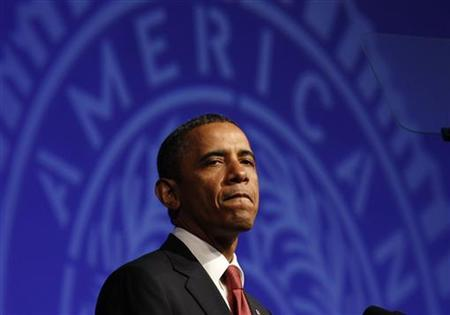 U.S. President Barack Obama pauses during the 93rd annual American Legion National Convention in Minneapolis, August 30, 2011. REUTERS/Larry Downing