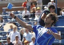 Rafael Nadal comemora vitória sobre Gilles Muller Rafael Nadal no Aberto dos EUA.       REUTERS/Mike Segar