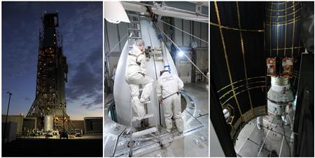 These undated NASA images show the various stages of pre-launch preparations of NASA's twin GRAIL spacecraft at Space Launch Complex 17B on Cape Canaveral Air Force Station in Florida, which were released September 7, 2011. REUTERS/NASA/JPL-Caltech/Handout