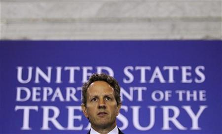 Treasury Secretary Tim Geithner delivers opening remarks at the Treasury Department's Counter-Terrorist Financing Symposium, ''Ten Years Later: Progress and Challenges in Combating Terrorist Financing Since 9/11,'' in Washington September 8, 2011. REUTERS/Molly Riley