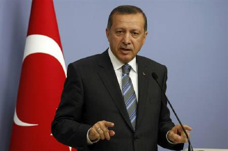 Turkey's Prime Minister Tayyip Erdogan addresses the media in Ankara September 8, 2011. Erdogan said he was concerned Syria could slip into civil war and that he wanted to deepen Ankara's ties with Egypt, in an interview published by an Egyptian newspaper on Tuesday during a visit to Cairo. REUTERS/Umit Bektas