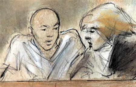 This courtroom drawing shows accused Christmas Day Bomber Umar Farouk Abdulmutallab (L) with his defense attorney Miriam Siefer in Federal court in Detroit, Michigan. January 8, 2010. REUTERS/Kabrin