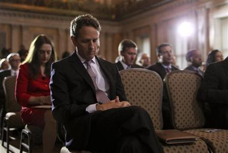 Treasury Secretary Tim Geithner waits to be introduced before delivering opening remarks at the Treasury Department, September 8, 2011. REUTERS/Molly Riley