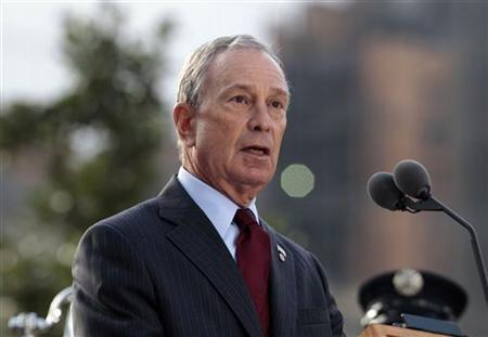 New York City Mayor Michael Bloomberg speaks during tenth anniversary ceremonies at the National September 11 Memorial at the World Trade Center site in New York, September 11, 2011. REUTERS/Noah K. Murray/Pool