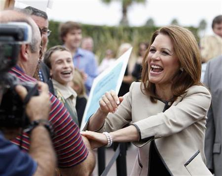 Republican presidential candidate Congresswoman Michele Bachmann greets her supporters during a rally for the Orange County Republican Party in Costa Mesa, California September 16, 2011. REUTERS/Alex Gallardo