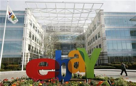 A pedestrian walks at the headquarters of eBay in San Jose, California February 25, 2010. REUTERS/Robert Galbraith