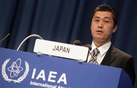 Japanese Environment Minister Goshi Hosono makes a speech during the 55th International Atomic Energy Agency (IAEA) General Conference at the UN headquarters in Vienna September 19, 2011. REUTERS/Herwig Prammer