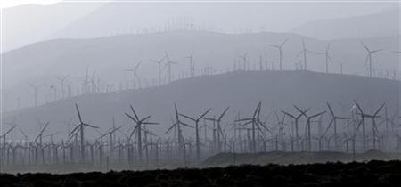 Wind turbine generators are pictured in Desert Hot Springs, California July 11, 2011. REUTERS/Mario Anzuoni