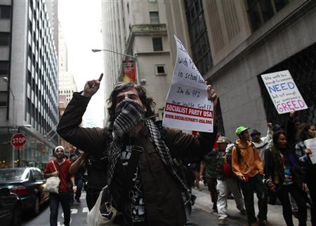 Protesters demonstrate near Wall Street against banks and corporations in New York September 17, 2011. REUTERS/Eric Thayer